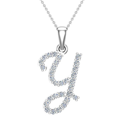 Initial Necklace Y Letter charms Diamond pendant necklace 18K Gold (G,VS) - White Gold