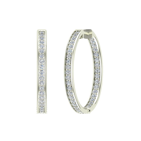 14K Gold Hoop Earrings 29 mm Diamond Line Setting Secure Click-in Lock (G,SI) - White Gold