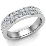 Men's Diamond Wedding Band 0.75 ctw Two-Row Half Way Men's 14K Gold 5mm (G,VS) - White Gold