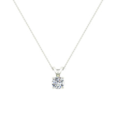 Round Brilliant Diamond Solitaire Pendant Necklace in White Gold