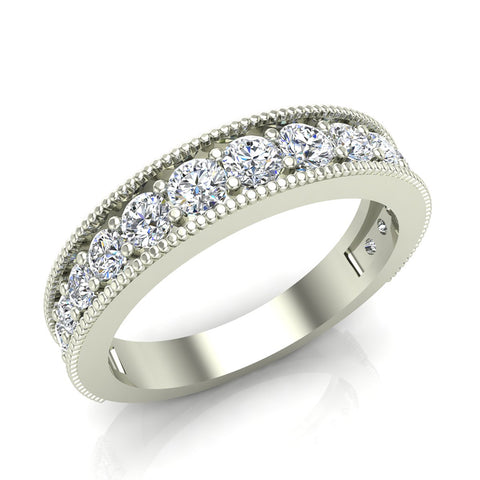 0.87 Carat Diamond Tapering Shank Eternity Band Wedding Ring 18K Gold (G,SI) - White Gold