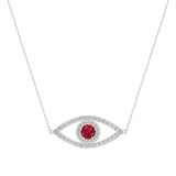 0.94 Carat Evil Eye Diamond & Ruby Pendant 14K Gold Necklace - White Gold