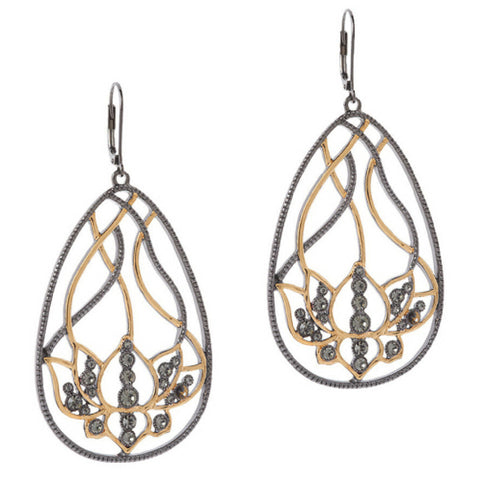 Open Work Floral Design Drop Earrings by VT Luxe