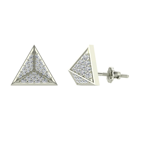 Triangle Pyramid Diamond Stud Earrings in 14K Gold (I,I1) - White Gold