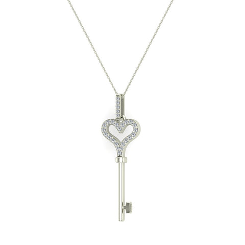 14K Gold Key to your Heart Diamond Necklace ¼ ctw (G,I1) - White Gold