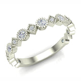 Circles & Squares Stacking Milgrain Diamond Wedding Band 0.32 ctw 14K Solid Gold (G,I1) - White Gold