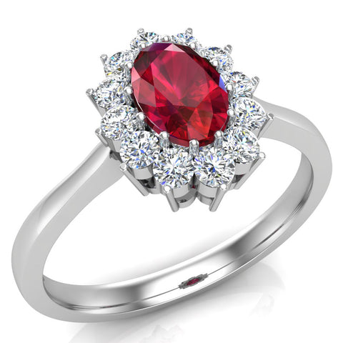 July Birthstone Ruby Oval 14K Gold Diamond Ring 0.80 ct tw - White Gold