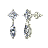 Princess & Marquise Drop Two stone Diamond Dangle Earrings 18K Gold (G,VS) - White Gold