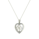 Heart Necklace 14K Gold Diamond Halo with Exquisite Styling (I,I1) - White Gold