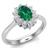 May Birthstone Emerald Oval 14K Gold Diamond Ring 0.80 ct tw - White Gold