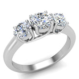 Round Brilliant Diamond Three Stone Anniversary Wedding Ring in 14K Gold (G,VS1) - White Gold