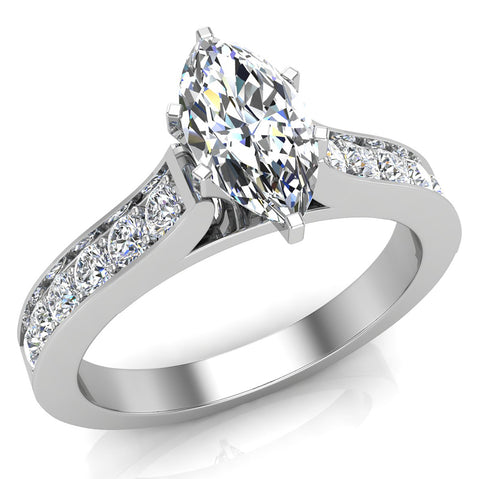 Cathedral Marquise Cut with Pave Accent Diamond Engagement Ring in 14k Gold (G,I1) - White Gold