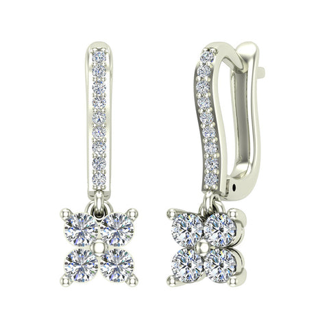 Diamond Cluster Dangle Diamond Earrings 18K Gold (G,VS) - White Gold