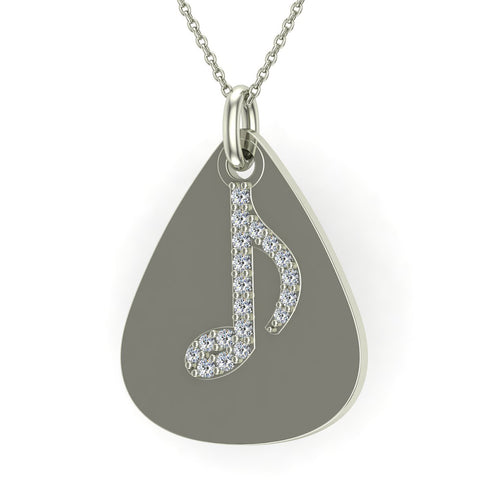 Signature Guitar Pick 14K Gold Necklace with Diamond Musical Note Highlights 0.10 ctw (G,I1) - White Gold
