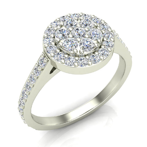 Dainty Flower Cluster Diamond Halo Engagement Ring 0.78 ctw 18K Gold (G,SI) - White Gold