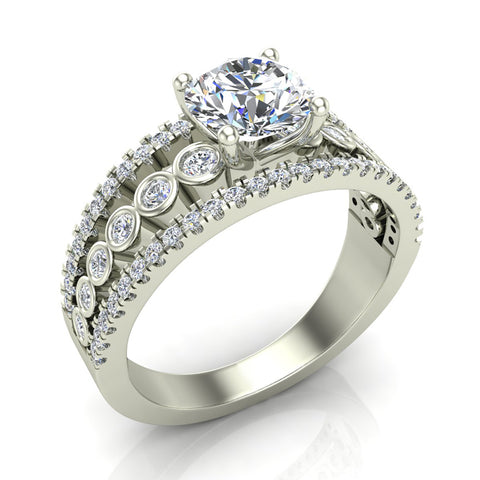 Diamond Rows Bezel Shank Wide Engagement Ring 1.44 Carat Total 14K Gold (I,I1) - White Gold