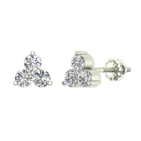 Three Stone Triangle Setting Diamond Stud Earring 18K Gold (G,VS) - White Gold