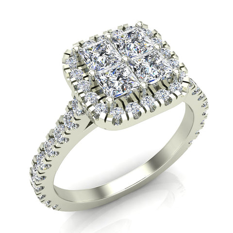Princess Cushion Halo Diamond Engagement Ring 1.38 ctw 18K Gold (G,SI) - White Gold
