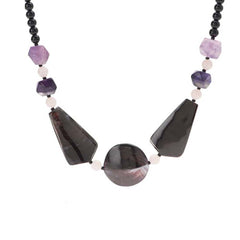 Lee Sands Purple Oyster Shell Station Necklace