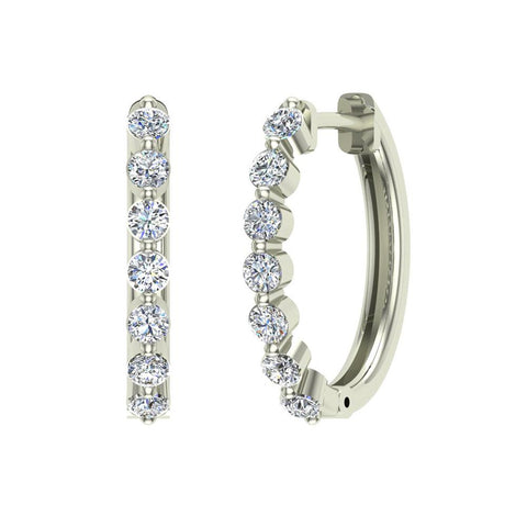 Oval Shaped Diamond Huggies Style Hoop Earrings Secure Click-in Lock Setting 14K Gold (I,I1) - White Gold
