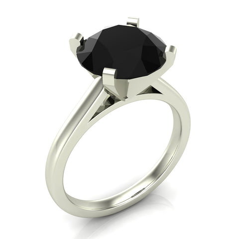 Black Diamond Solitaire Engagement Ring 4 Prong Setting 10 mm 14K Gold (Black,AAA) - White Gold