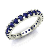 Gemstone 2.25 mm Stackable Eternity Band 14K Gold - White Gold