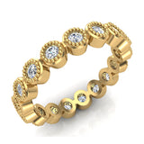 0.53 cttw Bezel Set Milgrain outline Diamond Stackable Band 18k Gold (G,VS) - Yellow Gold