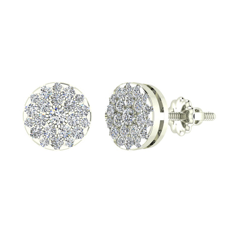 Round Cluster Diamond Earrings 0.56 ctw 18K Gold (G,VS) - White Gold