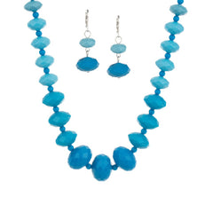 Graduated Faceted Bead Necklace & Earring Set