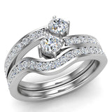 Two-Stone Diamond Ring Set with wedding band 14K Gold (I,I1) - White Gold