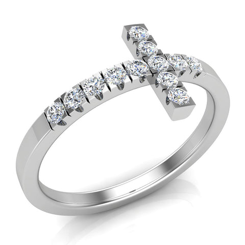 Sideways Cross Diamond Ring 14k Gold (I,I1) - White Gold
