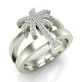Trendsetter Fashion Palm Tree Diamond Ring 0.31 ctw 18K Gold (G,SI) - White Gold