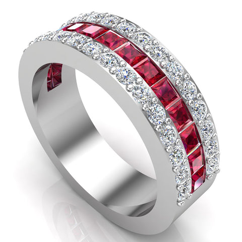 Mens Wedding Rings Ruby Gemstones Rings 14K Gold Diamond Ring 2.97 carat tw - White Gold