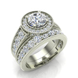 2.24 Carat Solitaire Diamond Halo And Simple Studded Shank Wedding Ring Set 14K Gold (G,I1) - White Gold