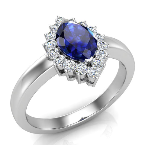 September Birthstone Sapphire Marquise 14K Gold Diamond Ring 1.00 ct tw - White Gold