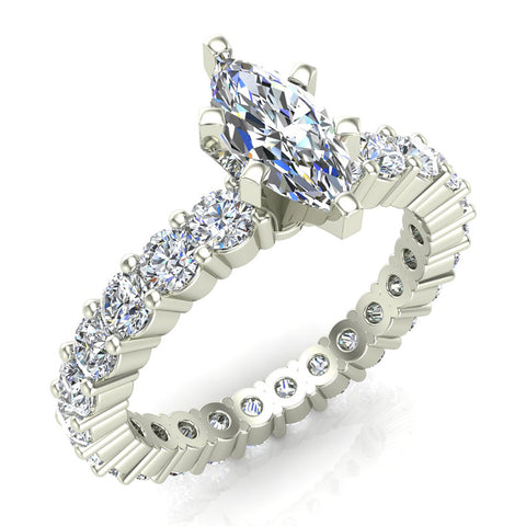 Marquise Center Eternity Diamond Wedding Ring 14K White Gold (G,SI) - White Gold