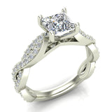 Princess-Cut Solitaire Diamond Braided Shank Engagement Ring 18K Gold (G,VS) - White Gold