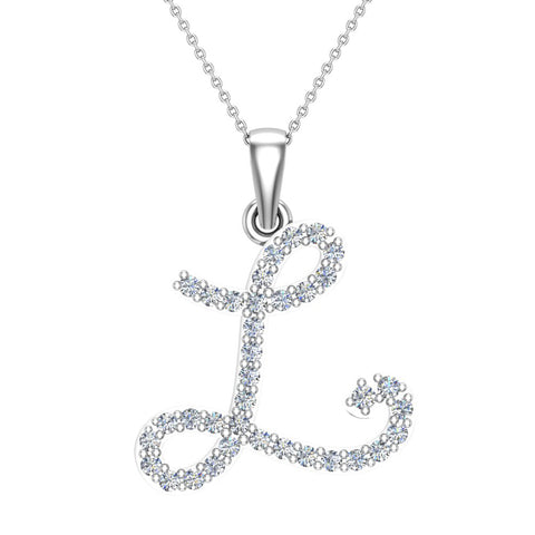 Initial Necklace L Letter charms Diamond pendant necklace 18K Gold (G,VS) - White Gold