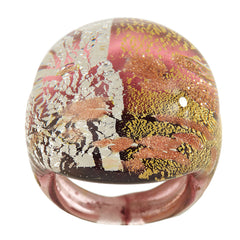 Bold Round Multi-colored Murano Glass Ring