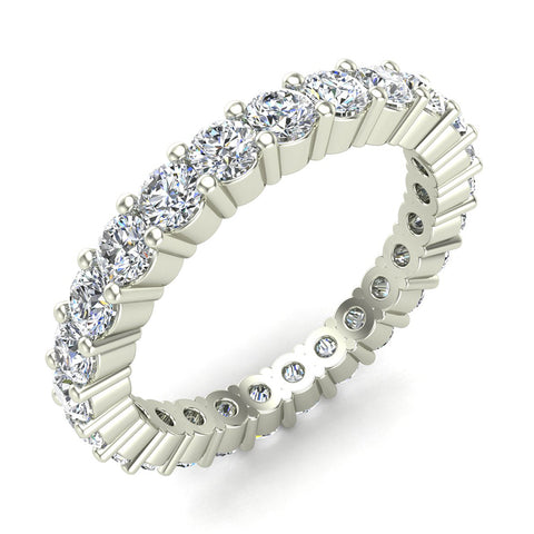Round Eternity Diamond Wedding Band 14K White Gold (G,SI) - White Gold