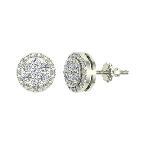 Halo Cluster Diamond Earrings 0.48 ctw 14K Gold (I,I1) - White Gold