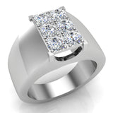 Six Stone Men's White Diamond Cluster Ring 14k Gold (G, SI) - White Gold