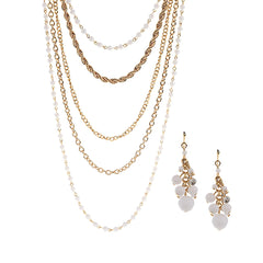 Robert Rose Goldtone Long Layered Necklace & Earring Set