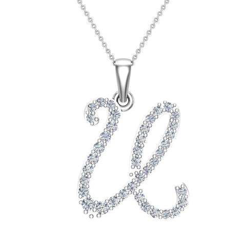 Initial Necklace U Letter charms Diamond pendant necklace 18K Gold (G,VS) - White Gold