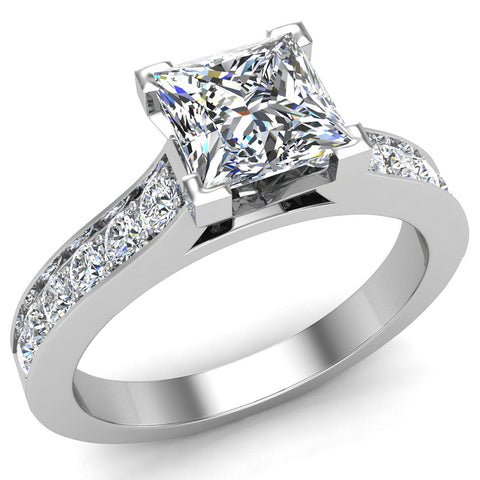 Princess Cut with Accent Diamonds in Cathedral Style Ring 14k Gold (G,SI) - White Gold