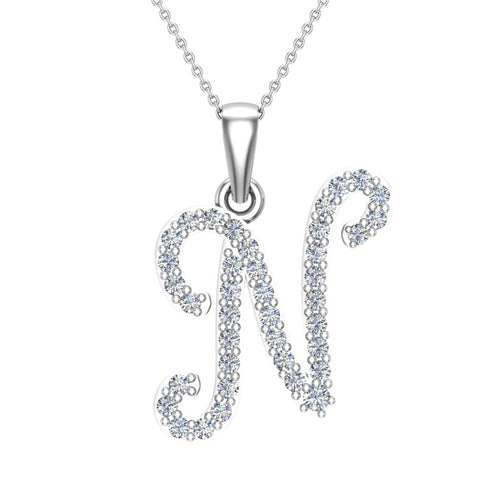 Initial Necklace N Letter charms Diamond pendant necklace 18K Gold (G,VS) - White Gold