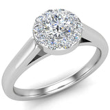 Round Diamond Halo Promise Ring in 14k Gold (G,SI) - White Gold