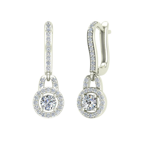 Dangle Drop Shape Halo Diamond Earrings 14K Gold (I,I1) - White Gold
