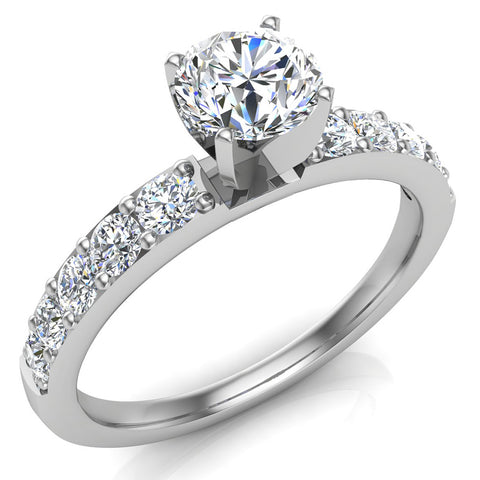 Diamond Engagement Ring with Accent Diamond Shank 18k Gold 0.85 ct (G,VS) - White Gold