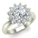 Halo Engagement Ring Classic Style Floral Halo Shared Prong Setting 18K Gold 1.30 Carat Total Weight (G,SI) - White Gold
